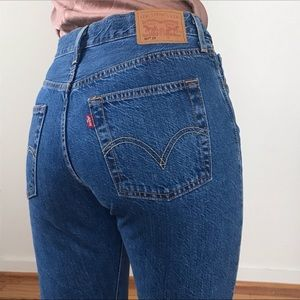 Levi's 501 Customized and Tapered Med Blue Jeans
